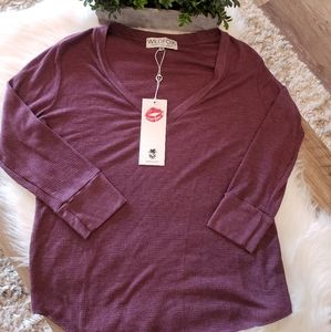 Wildfox Ribbed Lightweight Henley Top Vneck NWT